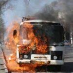 В Подмосковье загорелся автобус с пассажирами